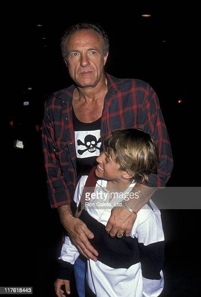 Actor James Caan and Scott Caan attend the birthday party for Greg Gorman on June 29 1989 at Tramp's in Beverly Hills California