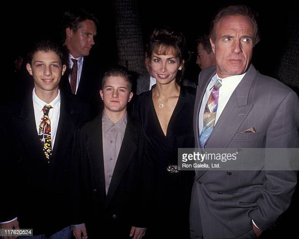 Actor James Caan Ingrid Hajek and Scott Caan attend the premiere of For The Boys on November 14 1991 at the Academy Theater in Beverly Hills...