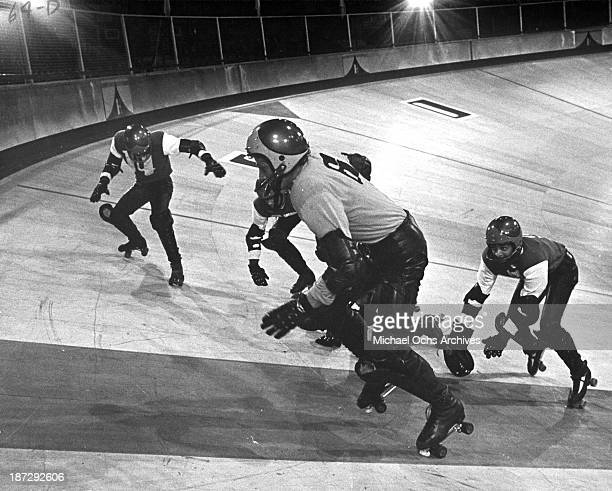 Actor James Caan on set of the United Artist movie Rollerball in 1975
