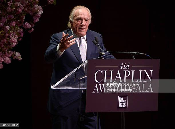 Actor James Caan speaks onstage at the 41st Annual Chaplin Award Gala at Avery Fisher Hall at Lincoln Center for the Performing Arts on April 28 2014...