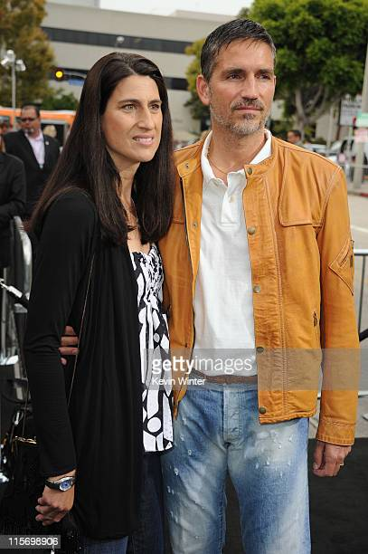 Actor James Caviezel and wife Kerri Browitt arrive at the premiere of Paramount Pictures' Super 8 at Regency Village Theatre on June 8 2011 in...