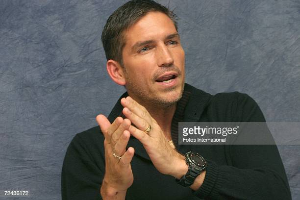 Actor James Caviezel talks at the Hyatt Regency Century Plaza Hotel on October 29 2006 in Los Angeles California