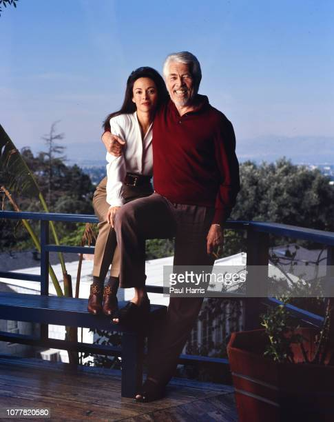 Actor James Coburn at age 63 with television interviewer Paula Murad who he married after divorcing his first wife Beverly Kelly in the actors...