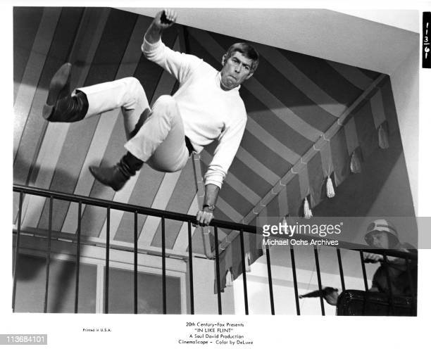 Actor James Coburn in a scene from the movie 'In Like Flint' in 1967 in Los Angeles California