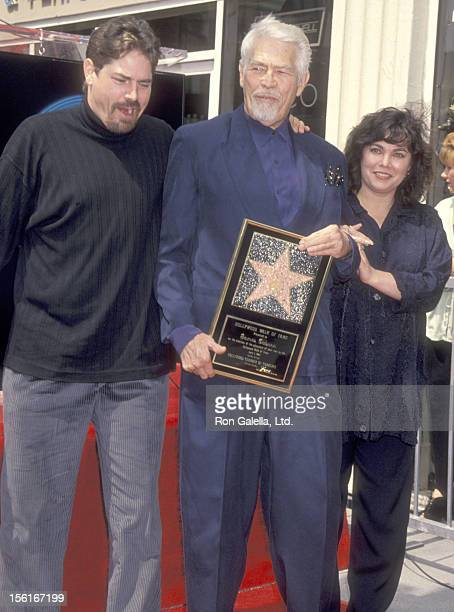 Actor James Coburn son James Coburn IV and daughter Lisa Coburn attend the Hollywood Walk of Fame Star Ceremony Honoring James Coburn on April 1 1994...