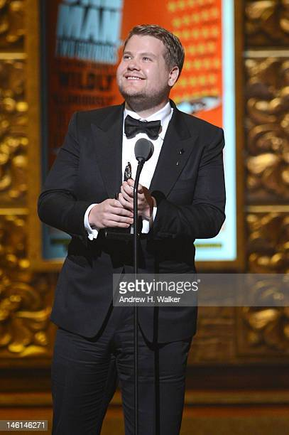 Actor James Corden accept the award for Best Performance by a Leading Actor in a Play for 'One Man Two Guvnors' onstage at the 66th Annual Tony...