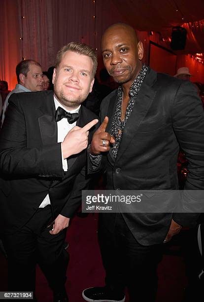 Actor James Corden and comedian Dave Chappelle attend Madonna presents An Evening of Music Art Mischief and Performance to benefit Raising Malawi at...