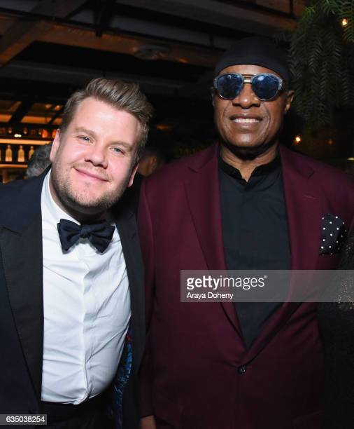 Actor James Corden and musician Stevie Wonder at a celebration of music with Republic Records in partnership with Absolut and Pryma at Catch LA on...