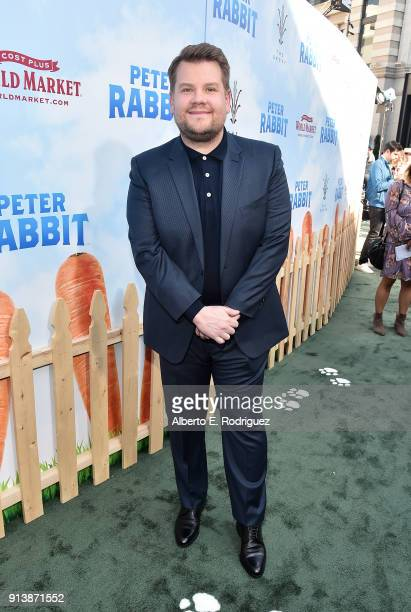 Actor James Corden attends the premiere of Columbia Pictures' Peter Rabbit at The Grove on February 3 2018 in Los Angeles California
