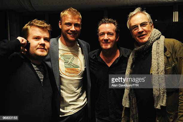 Actor James Corden, England Cricketer Andrew Flintoff with Piers Morgan and actor Larry Lamb backstage during Naomi Campbell's Fashion For Relief...