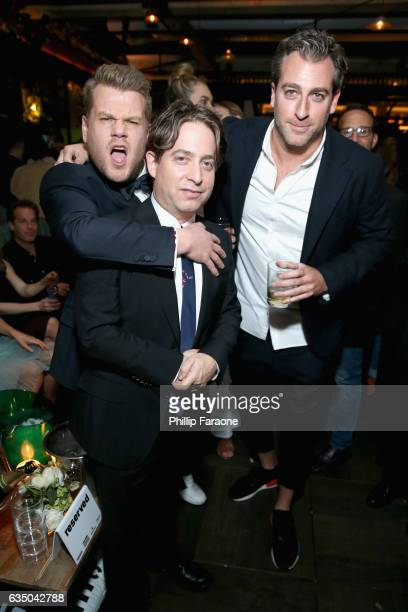 Actor James Corden President of the Republic Records Group Charlie Walk and EMM Group cofounder Mark Birnbaum at a celebration of music with Republic...