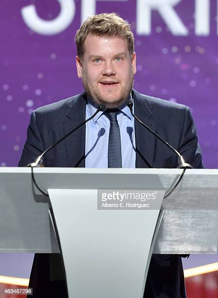 Actor James Corden speaks onstage at the 2015 Writers Guild Awards L.A. Ceremony at the Hyatt Regency Century Plaza on February 14, 2015 in Century...