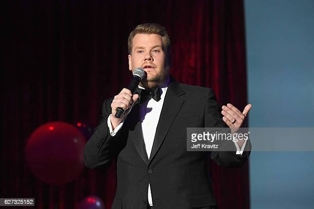 Actor James Corden speaks onstage during Madonna presents An Evening of Music Art Mischief and Performance to benefit Raising Malawi at Faena Forum...