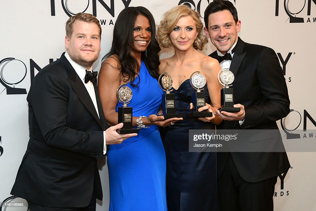Actor James Corden, winner of Best Performance by a Leading Actor in a Play for 'One Man, Two Guvnors', actress Audra McDonald, winner of Best Performance by a Leading Actress in a Musical for 'Porgy and Bes', actress Nina Arianda, winner of Best Performance by a Leading Actress in a Play for 'Venus in Fur', and actor Steve Kazee, winner of Best Performance by a Leading Actor in a Musical for 'Once' pose in the 66th Annual Tony Awards press room at The Beacon Theatre on June 10, 2012 in New York City.