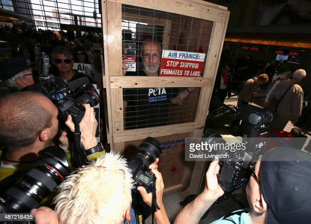 Actor James Cromwell leads a PETA protest against Air France's cruelty to monkeys at Los Angeles International Airport on April 28 2014 in Los...