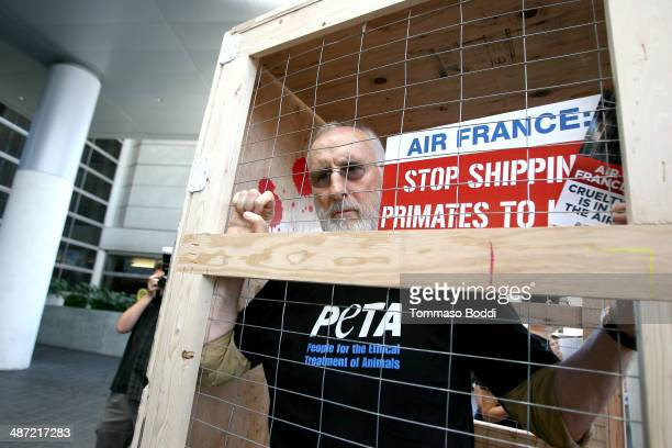Actor James Cromwell leads PETA protest against Air France's cruelty to monkeys at Los Angeles International Airport on April 28 2014 in Los Angeles...