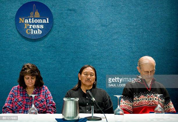 Actor James Cromwell Manny Pino of Acoma Pueblo New Mexico and Mitch an Australian Aboriginal listen during a press conference on the problems with...
