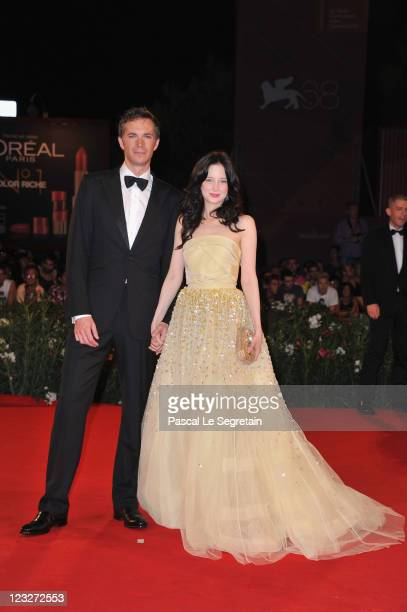 Actor James D'Arcy and actress Andrea Riseborough attend the 'WE' premiere at the Palazzo Del Cinema during the 68th Venice Film Festival on...