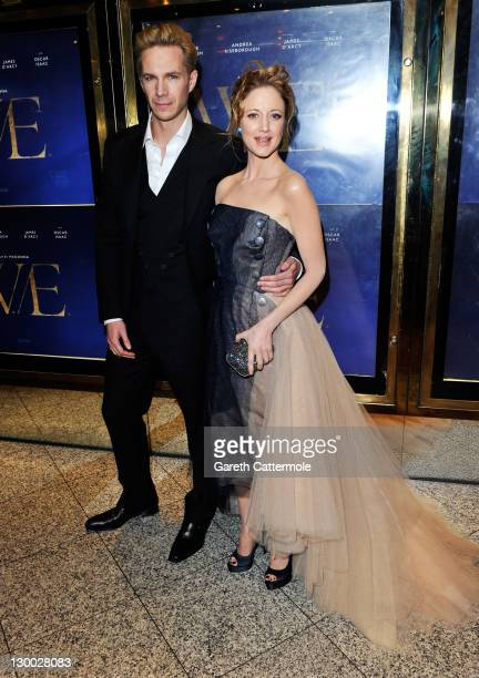 """Actor James D'Arcy and actress Andrea Riseborough attend the """"W.E."""" premiere during the 55th BFI London Film Festival at Empire Leicester Square on..."""