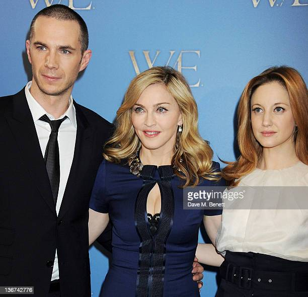 Actor James D'Arcy, writer/director Madonna and actress Andrea Riseborough attend a photocall to promote the new film 'W.E.' at the London Studios on...