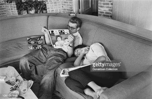 Actor James Dean and actress Elizabeth Tayor take a weekend break during the filming of the movie Giant in JULY 4 1955 in Dallas Texas