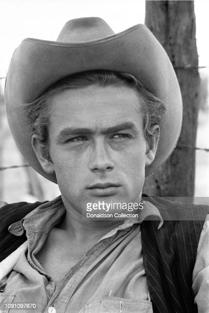 "July 1955: Actor James Dean on the set of the movie ""Giant"" in July 1955 in Marfa, Texas."