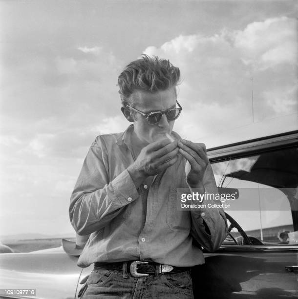Actor James Dean on the set of the movie Giant in July 1955 in Marfa Texas