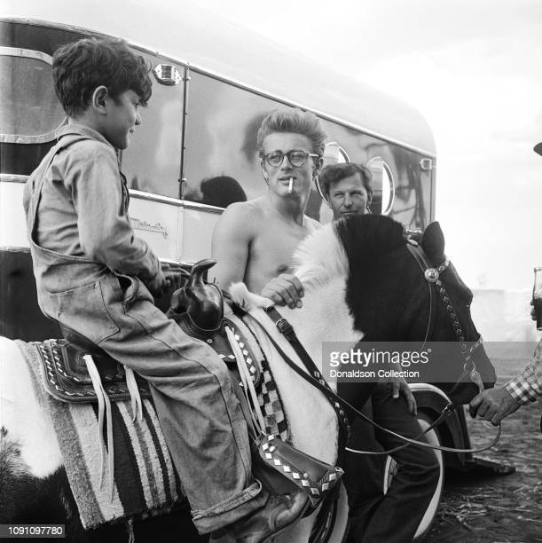 Actor James Dean on the set of the movie Giant in October 1955 in Marfa Texas