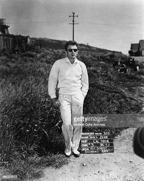 Actor James Dean , on the set of the Warner Bros film 'East Of Eden' in 1954 in California.