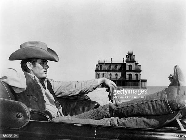 Actor James Dean , on the set of the Warner Bros film 'Giant' in 1955 in Marfa, Texas.