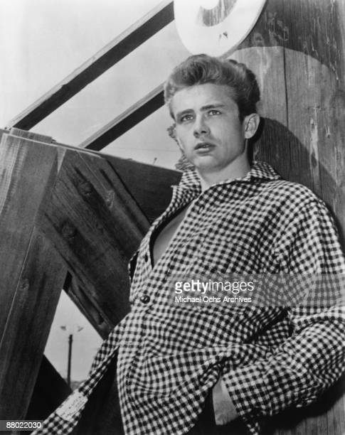Actor James Dean poses for a photo on the set of the Warner Bros film 'East Of Eden' in 1954 in California
