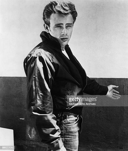 Actor James Dean poses for a Warner Bros publicity shot for his film 'Rebel Without A Cause' in 1955 in Los Angeles California