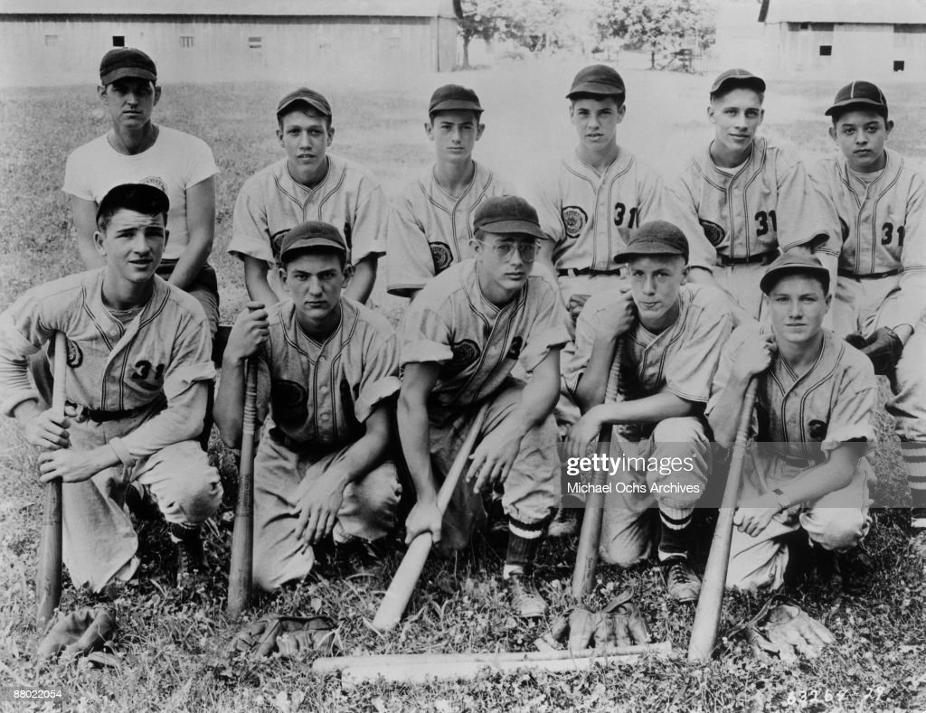 Actor James Dean (front and center) poses with his American Legion baseball teammates circa 1948 in Fairmount, Indiana.