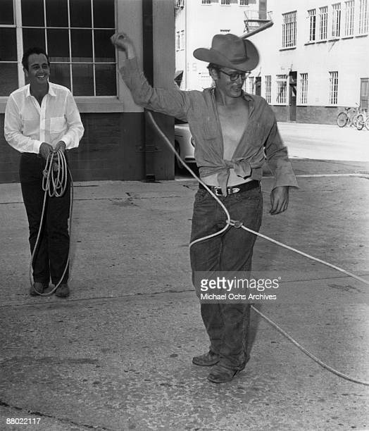 Actor James Dean practices his rope skills for the Warner Bros film 'Giant' in 1955 in Los Angeles California