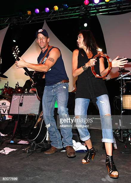 Actor James Denton and actress Teri Hatcher perform at the 2nd Annual Band From TV Night held at Cal State Fullerton's Titan Stadium on July 26 2008...