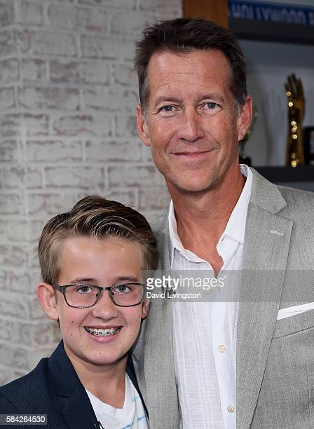 Actor James Denton and son actor Sheppard Denton visit Hollywood Today Live at W Hollywood on July 28 2016 in Hollywood California
