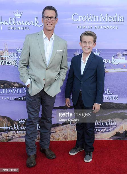 Actor James Denton and son Sheppard Denton arrive at the Hallmark Channel and Hallmark Movies and Mysteries Summer 2016 TCA Press Tour Event on July...