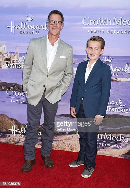 Actor James Denton and son/actor Sheppard Denton attend the Hallmark Channel and Hallmark Movies and Mysteries Summer 2016 TCA press tour event at a...