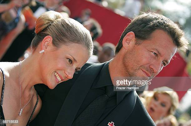 Actor James Denton and wife Erin O'Brien arrive at the 57th Annual Emmy Awards held at the Shrine Auditorium on September 18 2005 in Los Angeles...