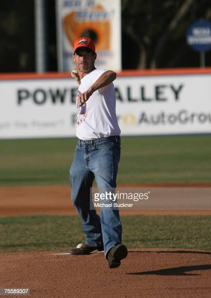 Actor James Denton throws out the first picth at the Orange County Fylers game at Cal State Fullerton on July 21 2007 in Fullterton California