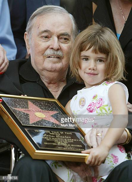 Actor James Doohan with his daughter Sarah Doohan recieves his star on the Hollywood Walk of Fame August 31 2004 in Los Angeles California