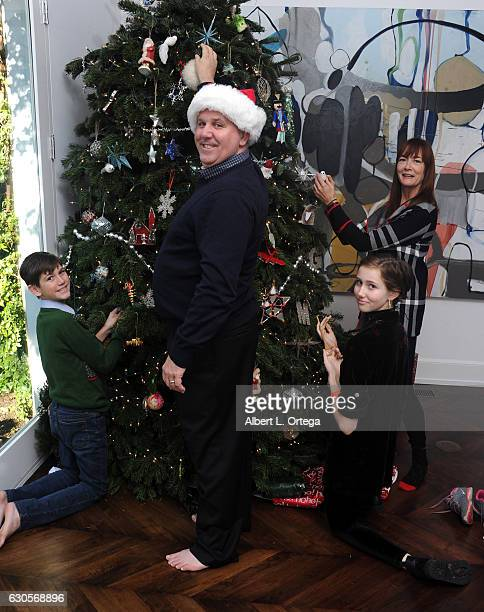 Actor James DuMont of 'Patriots Day' with his family son Kelton wife Wendell Hall and daughter Sinclair decorate the Christmas Tree in Los Angeles on...