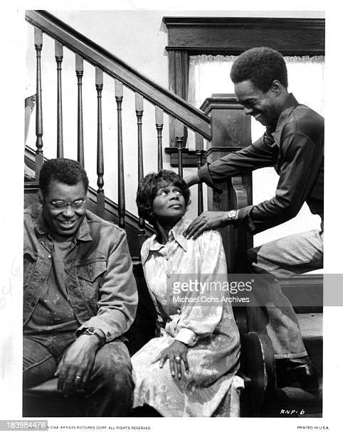 Actor James Earl Jones and actress Cicely Tyson and actor Glynn Turman on set of the Cine Artists Picture movie 'The River Niger' in 1976