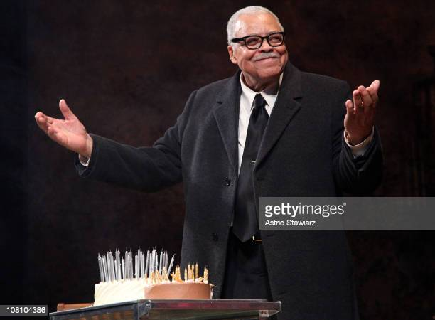 Actor James Earl Jones celebrates his 80th birthday by blowing the candles out on his cake at The Golden Theatre on January 17 2011 in New York City