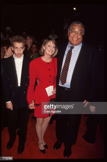 """Actor James Earl Jones, his wife and son Flynn attend the premiere of the film """"Cry, the Beloved Country"""" at the Ziegfeld Theatre October 23, 1995 in..."""
