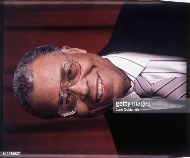 Actor James Earl Jones is shown in a studio portrait smiling Undated