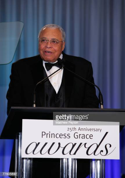 Actor James Earl Jones speaks during the 25th Anniversary Princess Grace Awards recognizing emerging talent in theater dance and film at Sotheby's...