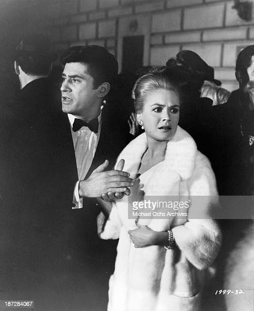 Actor James Farentino and actress Sandra Dee and on set of the Universal Studios movie Rosie in 1967