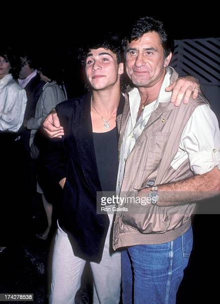 Actor James Farentino and son David on February 23 1986 dine at Spago in West Hollywood California