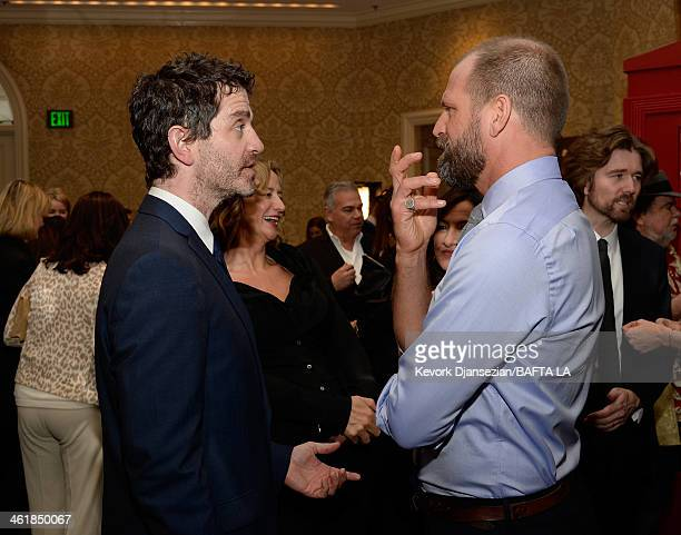 Actor James Frain actress Janet McTeer and Joe Coleman attend the BAFTA LA 2014 Awards Season Tea Party at the Four Seasons Hotel Los Angeles at...